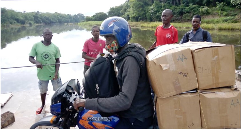 Delivery of books by motorbike